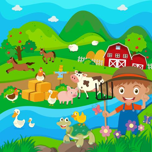 Farmer and farm animals in the farm