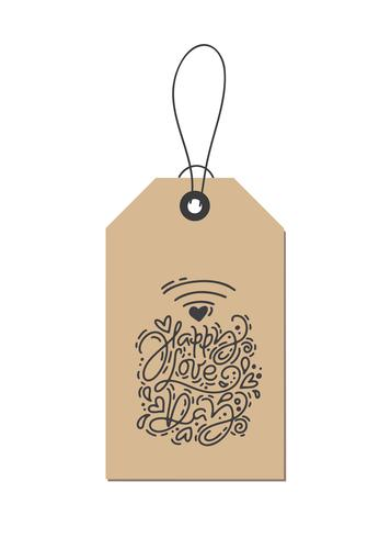 Vector monoline kalligrafie zin Happy Love Day wifi op kraft label. Geïsoleerde Valentijnsdag Hand getrokken belettering illustratie. Hart vakantie schets doodle ontwerp valentijn kaart. liefdes decor voor web, bruiloft en print
