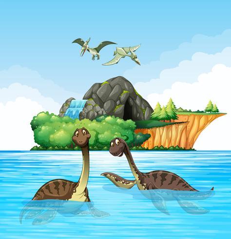 Dinosaurs living in the ocean
