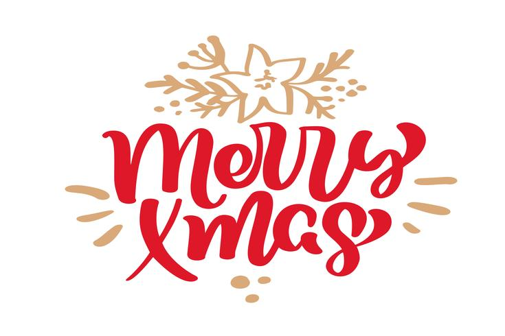 Merry Xmas Christmas vintage calligraphy lettering vector text with winter drawing scandinavian flourish decor. For art design, mockup brochure style, banner idea cover, booklet print flyer, poster