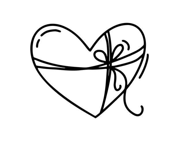 Monoline simpatico cuore con corda e fiocco. Icona disegnata a mano di vettore San Valentino. Doodle di schizzo di vacanza San Valentino elemento di design. amo l'arredamento per il web, il matrimonio e la stampa. Illustrazione isolato