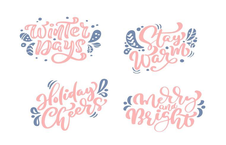Gelukkig nieuw jaar vector tekst instellen Kalligrafische belettering Merry Christmas ontwerp kaartsjabloon. Creatieve typografie voor de Giftaffiche van de vakantiegroet. Kalligrafie Lettertype stijl Banner