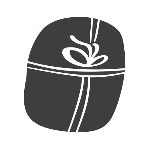 Silueta del icono del vector del giftbox de la Navidad. Símbolo de contorno de regalo simple. Aislado en blanco web sign kit de abeto estilizado. Handdraw cuadro escandinavo