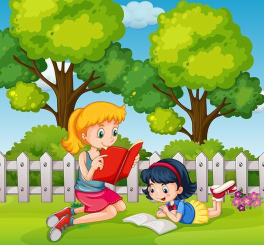 Two girls reading books in garden