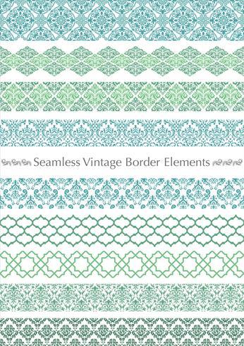 Damask vintage seamless pattern set.