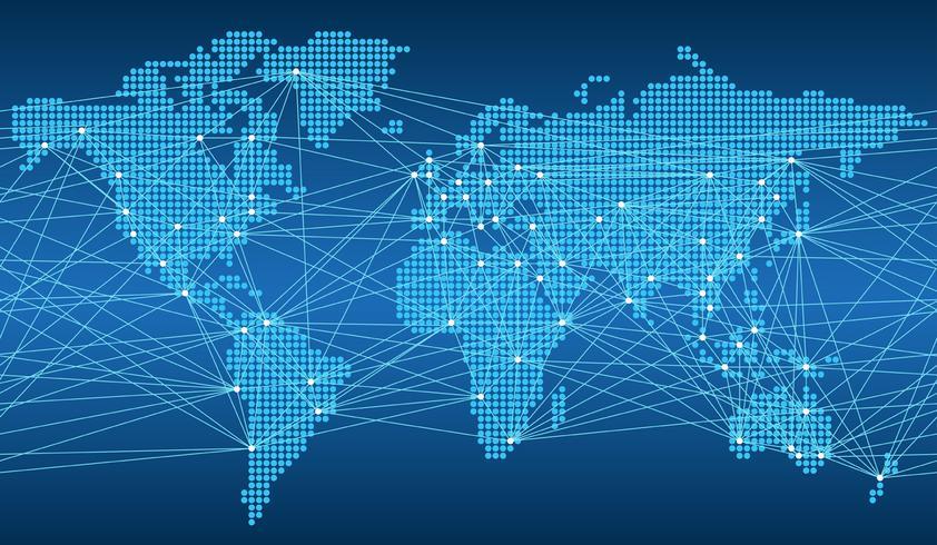 Mapa transparente del sistema de red global.