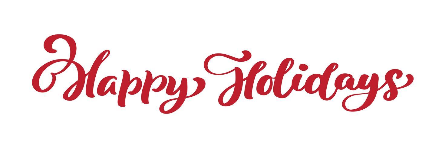 Kalligraphie-Beschriftungs-Vektortext der frohen Feiertage rote Weinlese frohe Weihnachten. Für Kunstvorlagenentwurfslistenseite, Modellbroschürenart, Fahnenideenabdeckung, Broschürendruckflieger, Plakat