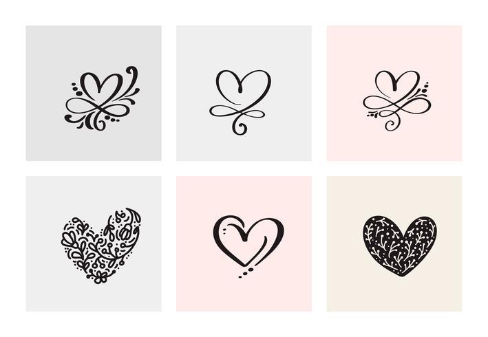 Satz von sechs Weinlese Vector Valentines Day Hand Drawn Calligraphic Hearts. Kalligraphie Schriftzug Abbildung. Urlaub Design Valentinstag. Ikonenliebesdekor für Netz, Hochzeit und Druck. Isoliert