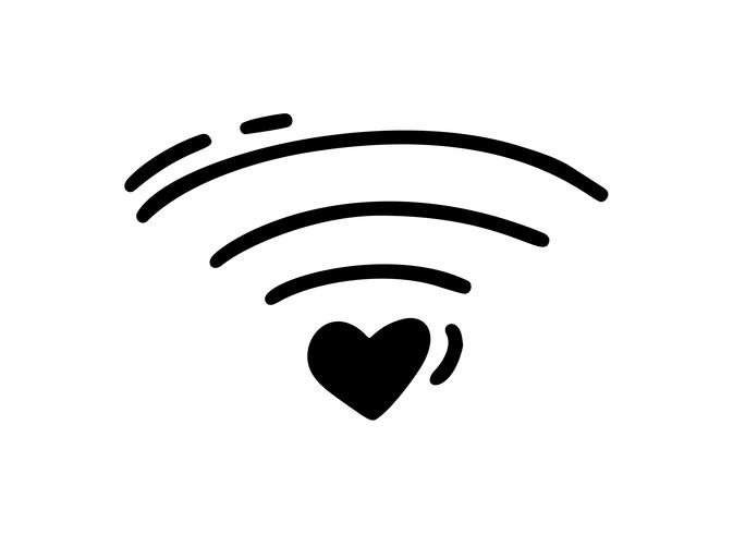 Vector monoline heart how wifi icon. Valentines Day Hand Drawn. Holiday sketch doodle Design plant element valentine. love decor for web, wedding and print. Isolated illustration