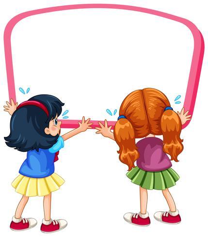 Bordsjabloon met twee meisjes huilen