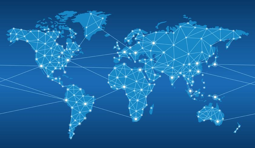 Seamless map of the global network system. vector