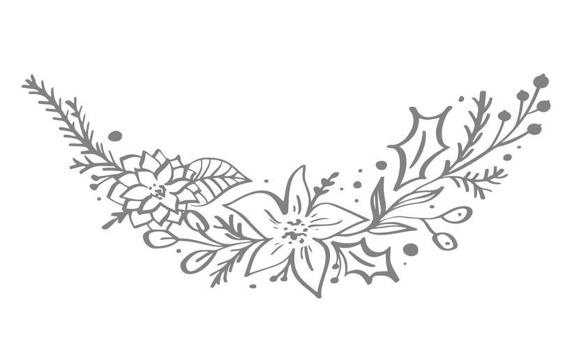 Éléments de coin décoratifs de Noël conçoivent avec des feuilles florales et des branches dans un style scandinave. Illustration de handdraw de vecteur pour carte de voeux de Noël
