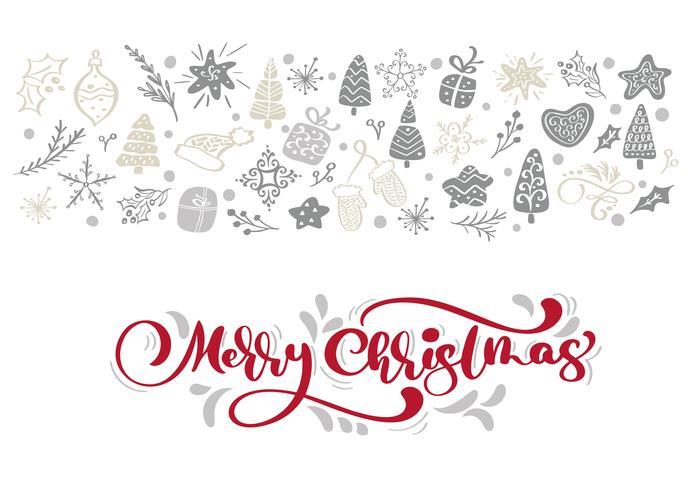 Rode Merry Christmas-kalligrafie die vectortekst met de elementen van de winterkerstmis in Skandinavische stijl van letters voorzien. Creatieve typografie voor de kaart van de de groetkaart van de vakantie