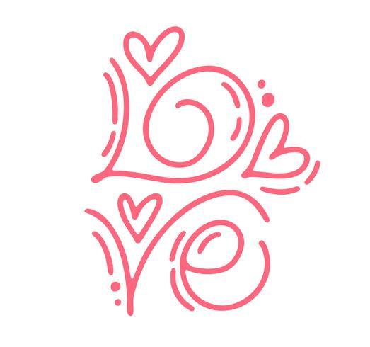 Vector monoline kalligrafie tekst liefde. Vintage Valentijnsdag Hand getrokken belettering. Heart Holiday sketch doodle Ontwerp valentijn kaart. liefdes decor voor web, bruiloft en print. Geïsoleerde illustratie