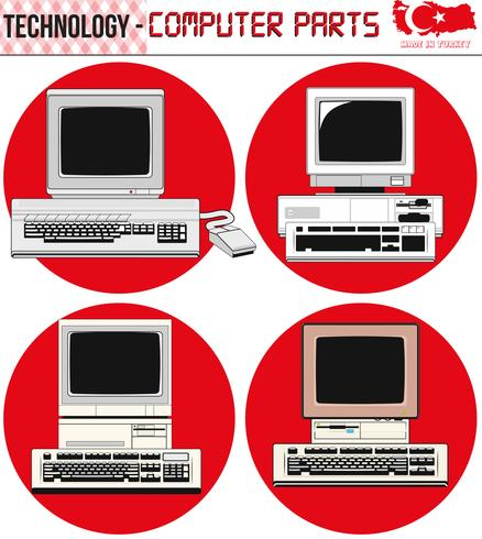 Computadoras retro: equipo, CPU, CD y disquete, computadora vieja, eps, vector