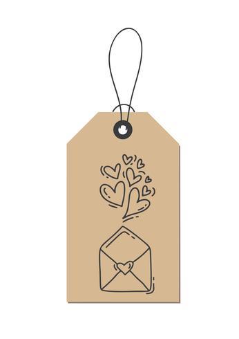 Corações e envelope do flourish da caligrafia do monoline do vetor sobre o amor na etiqueta de kraft. Isolado dia dos namorados mão desenhada lettering ilustração. Cartão do Valentim do projeto da garatuja do esboço do feriado do coração. decoração de amo