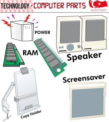 Retro Datorer - utrustning, CPU, CD och diskett, gammal dator, eps, vektor