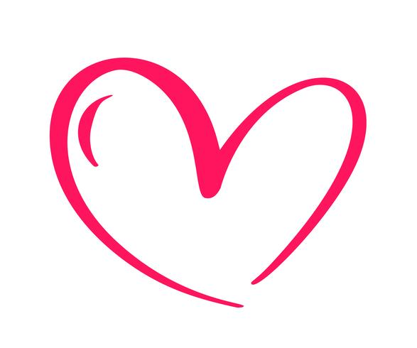 Corazón caligráfico dibujado mano roja del día de tarjetas del día de San Valentín del vector. Diseño de vacaciones elemento de san valentín Icono de decoración de amor para web, boda e impresión. Ilustración de letras de caligrafía aislado vector