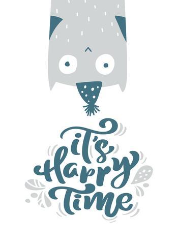 É tempo feliz caligrafia letras de texto. Cartão escandinavo do Natal com ilustração tirada mão do vetor de uma coruja engraçada bonito no chapéu do inverno. Objetos isolados