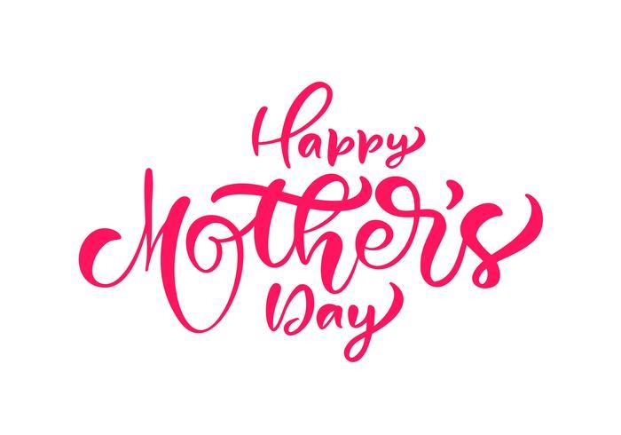 Calligraphie à l'encre manuscrite heureuse fête des mères lettrage texte vecteur