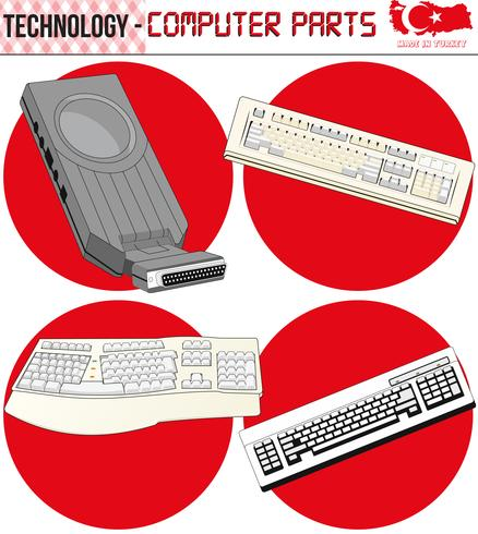 Retro Computers - equipment, CPU, CD and floppy disk, old computer, eps,vector vector