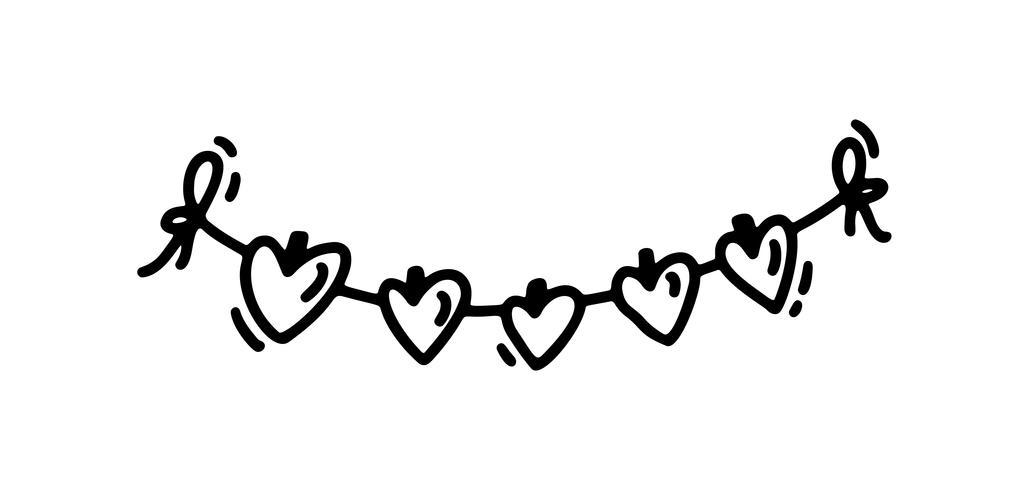 Monoline söt garland med hjärtan. Vektor Valentinsdag Hand Drawn ikon. Holiday sketch doodle Designelement valentin. kärleksdekoration för webben, bröllop och tryck. Isolerad illustration