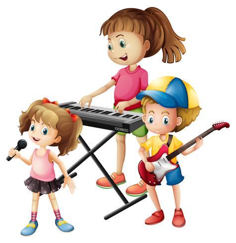Niños tocando instrumentos musicales juntos.