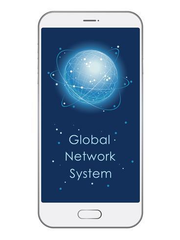 Ejemplo del concepto del sistema de red global con el texto spce.
