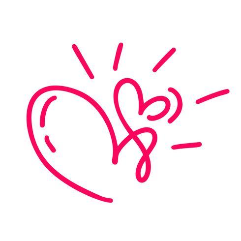 Paar monoline Red Vector Valentines Day Hand getekende kalligrafische twee harten. Kalligrafie belettering illustratie. Vakantie ontwerp element valentine. Icoon liefdes decor voor web, bruiloft en print. Geïsoleerd