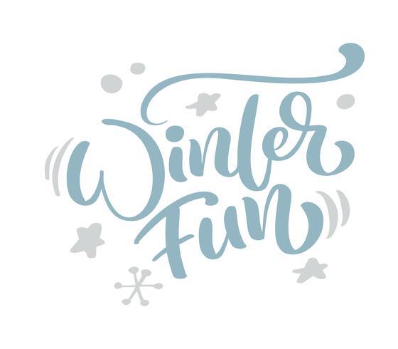 Texto azul del vector de las letras de la caligrafía del vintage de la Navidad de la diversión del invierno con la decoración escandinava del dibujo del invierno. Para el diseño de arte, el estilo del folleto de la maqueta, la portada de la pancarta, el f