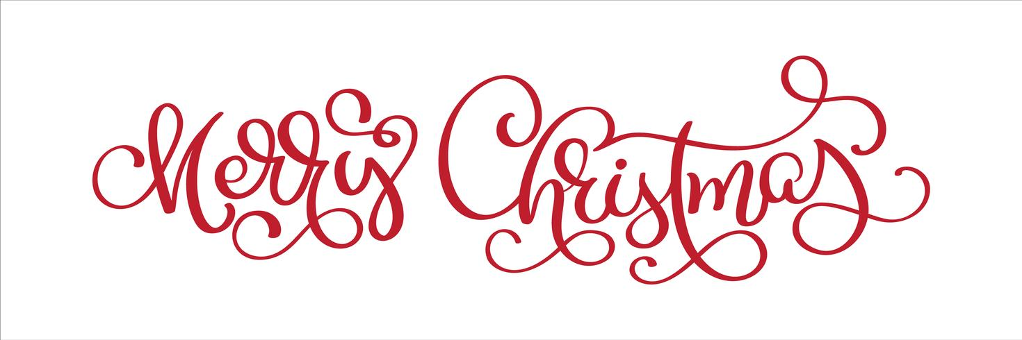 Hand lettering Merry Christmas vector text, Calligraphic Lettering template, Creative typography for Holiday Greeting Gift Card. Calligraphy Font vector