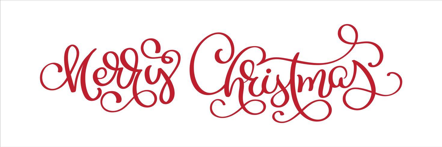 Dé el texto del vector de la Feliz Navidad de las letras, plantilla caligráfica de las letras, tipografía creativa para la tarjeta de regalo del saludo del día de fiesta. Vector de fuente de caligrafía