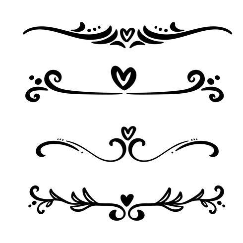 Vektor vintage linje eleganta dividers och separatorer, virvlar och hörn dekorativa hjärta ornament. Blomstrålar filigree designelement. Blomstra krulelement för inbjudan eller menysida illustration