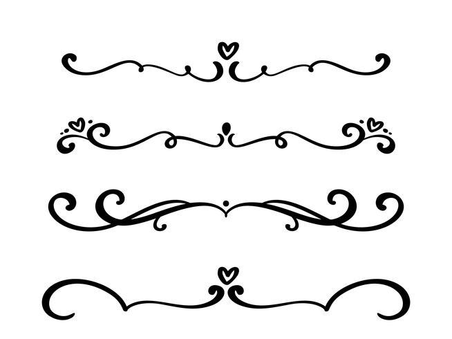 Vector vintage line elegant dividers and separators