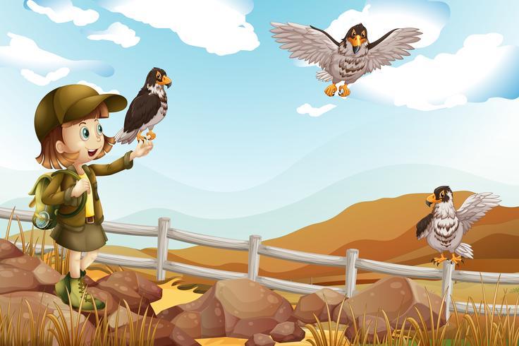 Mädchen und wilde Adler fliegen