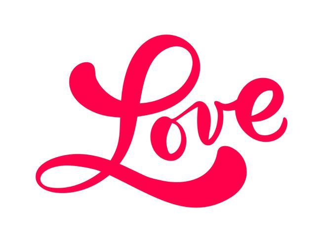 Rode kalligrafie woord liefde. Vector Valentijnsdag Hand getrokken belettering. Hart vakantie ontwerp valentijn kaart. liefdes decor voor web, bruiloft en print. Geïsoleerde illustratie