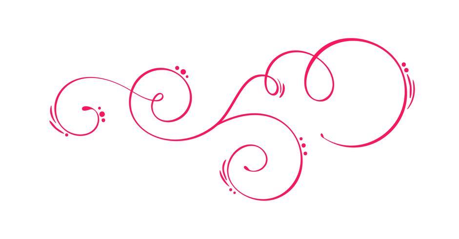Vektor-Hand gezeichnete kalligraphische Frühlings-Flourish-Gestaltungselemente. Floraler heller Stildekor für Web, Hochzeit und Druck. Isoliert auf weißem Hintergrund Kalligraphie und Beschriftung Abbildung