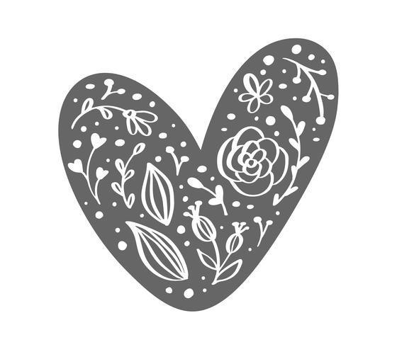 Mão desenhada escandinavo Velentines Day coração com silhueta de ícone de floreio ornamento. Símbolo de contorno simples dos namorados de vetor. Elemento de design isolado para web, casamento e impressão