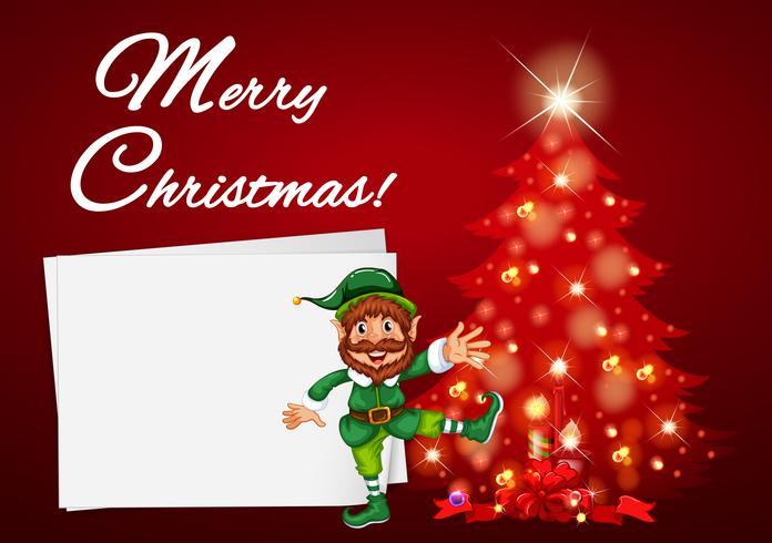 Julkort med elva och rött träd