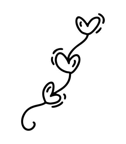 Monoline süßes Garaland mit Herzen. Vektor-Valentinsgruß-Tageshand gezeichnete Ikone. Feiertagsskizzengekritzel Gestaltungselementvalentinsgruß. Liebesdekor für Web, Hochzeit und Print. Isolierte darstellung