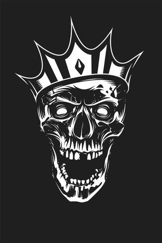 White Skull in Crown on Black Background vector