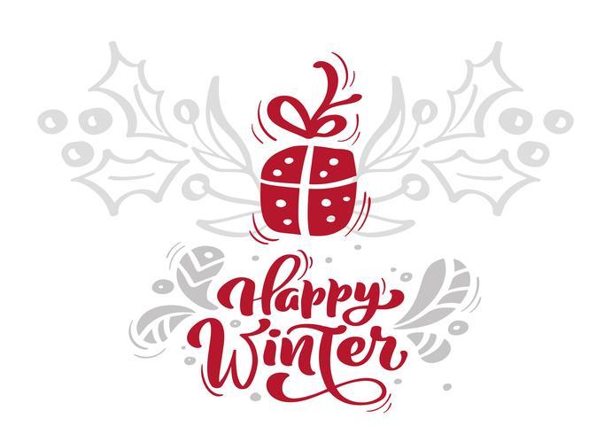 Julröd Glad Vinter Kalligrafi Brevande text med xmas i skandinavisk stil. Kreativ typografi för Holiday Greeting Card Poster