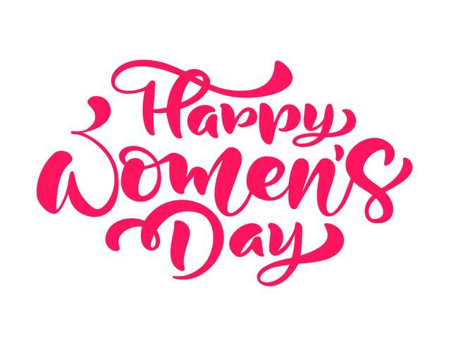 Rosa kalligrafi fras Glad kvinna dag