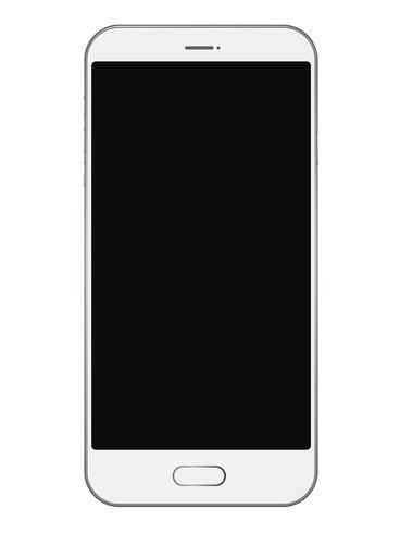 Smartphone con schermo nero isolato su sfondo bianco.