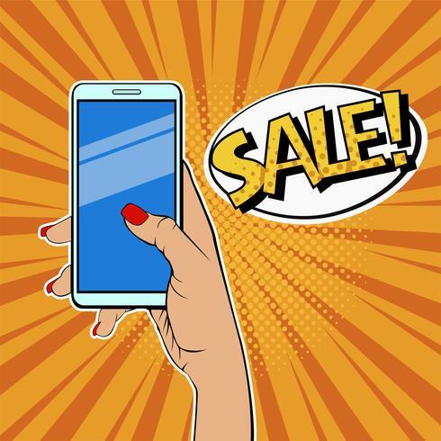 Mano de mujer con teléfono inteligente y descripción de venta.
