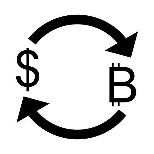 Scambia Bitcoin con l'icona di vettore del dollaro