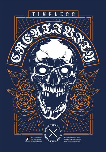 Skull with Roses Grunge Print Design