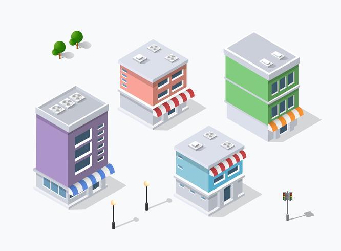 Bezirk der Stadtstraße Häuser isometrisch