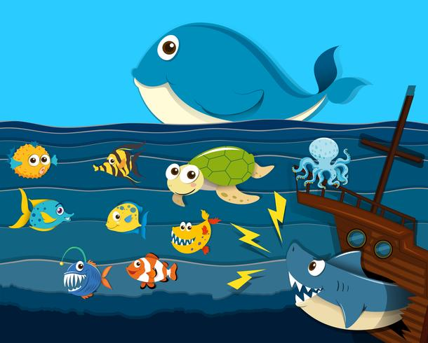 Escena del océano con animales marinos. vector