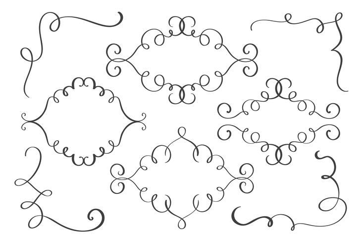 Establecer marco, esquina dibujado a mano florecer elementos de caligrafía. Ilustración vectorial sobre un fondo blanco